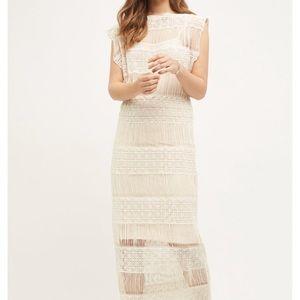 New Anthropologie Fringed Crochet Maxi Dress Small